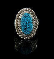 Spiderweb Kingman Turquoise Ring Size 10.5