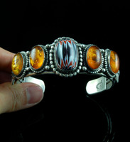 Trade Bead and Amber Row Bracelet
