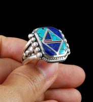 Turquoise and Lapis Diamond Inlay Ring with Coral