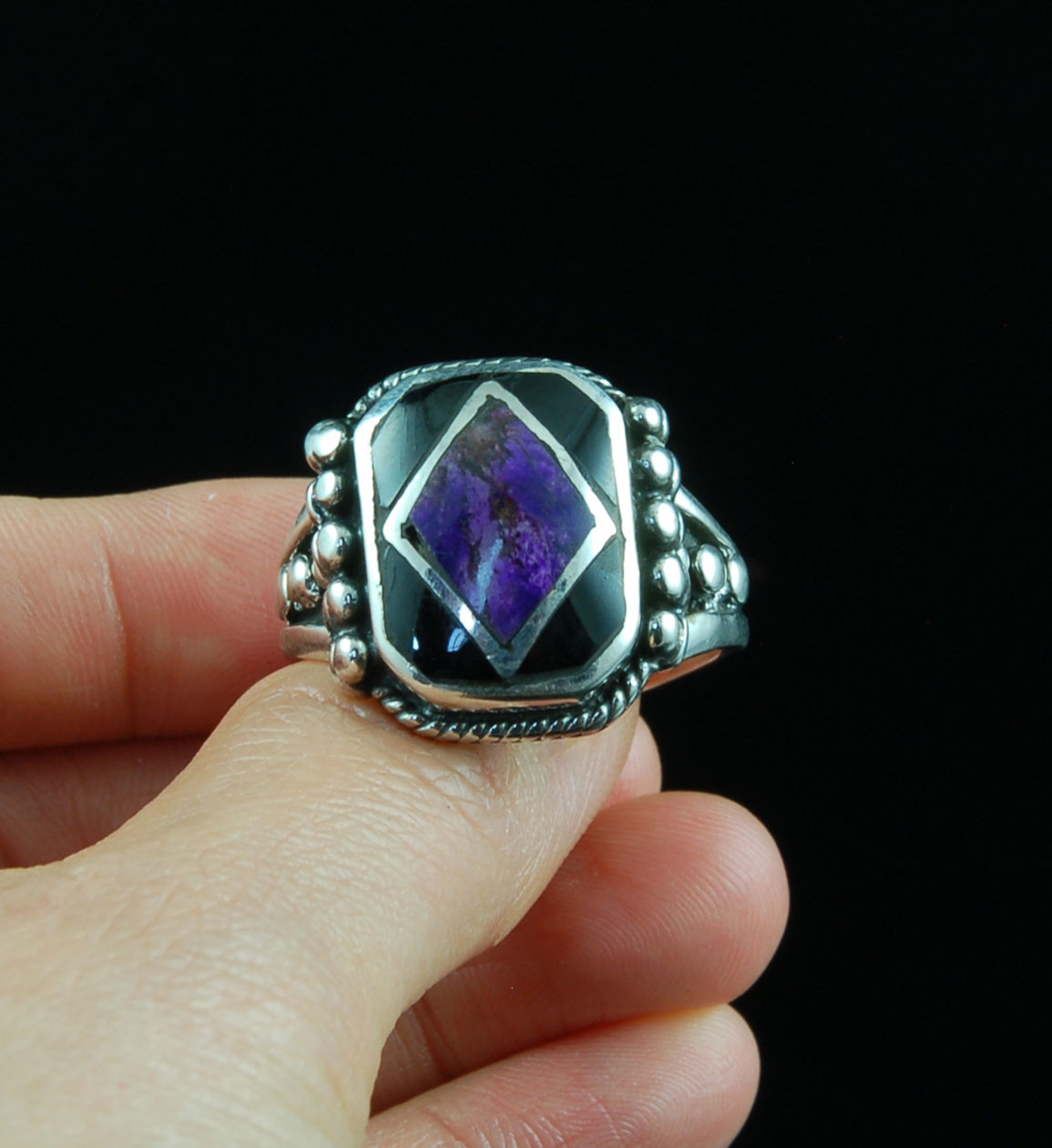 f6a55d44da6 Diamond Inlay Sugilite and Black Onyx Silver Ring. Image 1. Loading zoom
