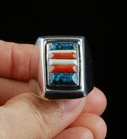 Vintage Navajo Cornrow Inlay Silver Ring