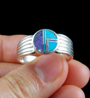 Turquoise and Sugilite Inlay Silver Band Ring
