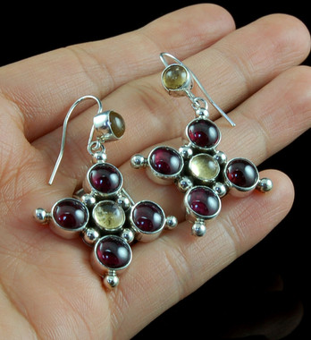 Handmade Sterling Silver drop earrings with garnets and citrine