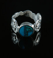 Two Color Turquoise Inlay Ring with Overlay Turtles