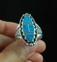 Deep Blue Turquoise Inlay Ring for Women