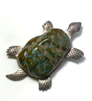 Large Green Turquoise and Silver Turtle Pin Pendant