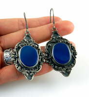 Vintage Blue Agate and Silver Dangle Earrings