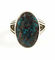 Deep Blue Bisbee Turquoise and Silver Ring Size 9.5