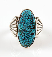 Sterling Silver and Black Web Kingman Turquoise Ring Size 10.25