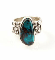 Rock Art Band Ring with Cloud Mountain Turquoise