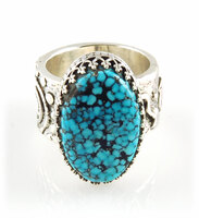 Black Web Kingman Turquoise Rock Art Ring