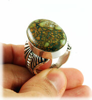Mens Sterling Silver Ring with 7D Variscite