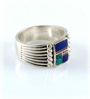 Multi Color Inlay Silver Ring for Men Size 11