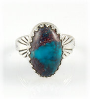 Simple High Grade Bisbee Turquoise and Silver Ring