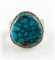 Large Egyptian Turquoise and Silver Ring for Men