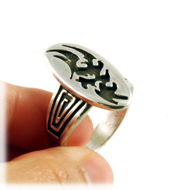 Tribal Tattoo Sterling Silver Ring by John Hartman