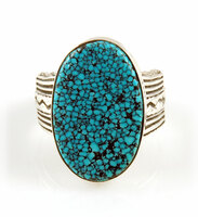 Black Spider Web American Turquoise Ring