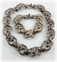 Early Taxco Silver Chain Necklace and Bracelet