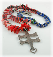 Chevron and Spiny Oyster Shell Bead Cross Necklace