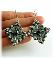 Bohemian Style Silver and Black Sapphire Earrings