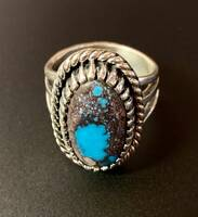 Oval Smoky Bisbee Turquoise and Sterling Silver Ring for Ladies