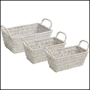Whitewash, 3 Piece Shelf Basket Set w/ Handles