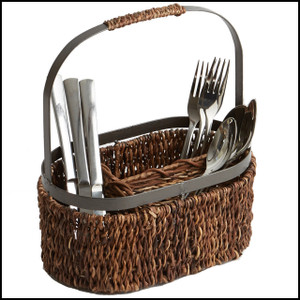 Abaca with Metal Trim, Oval Flatware Caddy, 11-Inch