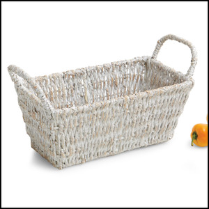 Whitewash, Large Rect Shelf Basket w/ Handles, 14 Inch