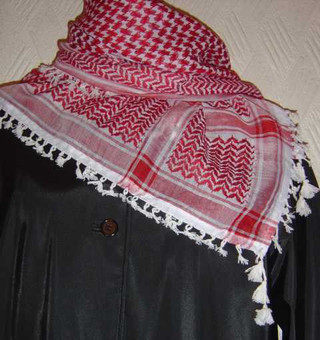 Red & White Shemagh With Tassels