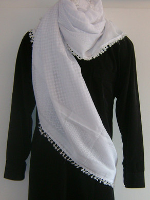 White on White with Tassels Shemagh Scarf