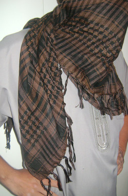 Brown with Tassels Shemagh Scarf