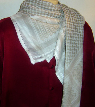 Khaki Brown & White Shemagh Scarf