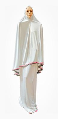 Telekung White 2 piece Lush Muslim Prayer Wear Long Hijab Khimar Umra Mukena