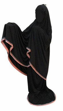 Telekung Black 2 piece Lush Muslim Prayer Wear Long Hijab Khimar Umra Mukena