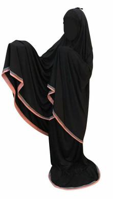 Telekung Black 2 piece Lush Muslim Prayer Wear Long Hijab Khimar Umra Mukena