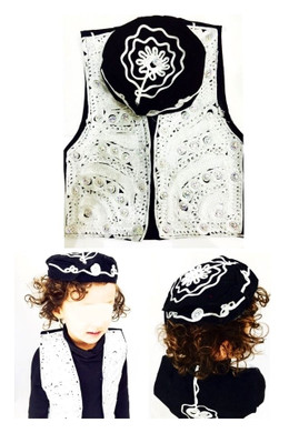 2 Piece Silver Bolero Boys Fancy Kameez Eid Party Pakistani Waistcoat Hat Cap