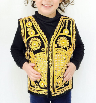 Gold Black Bolero Boys Fancy Kameez Eid Party Pakistani Wedding Waistcoat