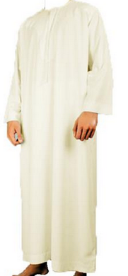 CREAM UAE ARAB THOBE DISHDASH GOWN DRESS MEN ROBE EID LUXURY DESIGNER DUBAI JUBA