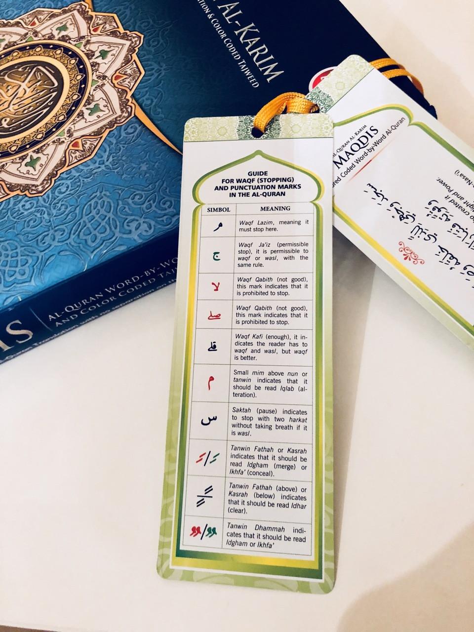 MAQDIS Al Quran Word by Word Translation Colour Coded Tajwid Arabic English  A4 Large