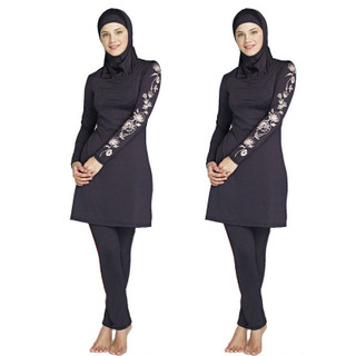 3 Piece Women Long Sleeve Muslim Full Cover Costumes Modest Swimwear Burkini Head Islamic Ladies Girls Summer Beach Soft Flowing Waterproof