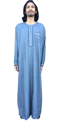 LONG SLEEVE THOBE MOROCCAN 6 COLORS DESERT DRESS MENS ROBE ROUND COLLAR GRANDAD CASUAL