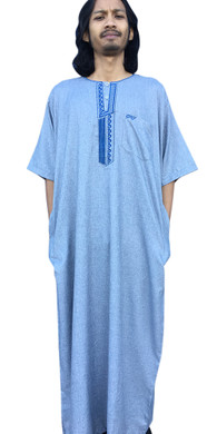 Short Sleeve Moroccan Thobe Gown Robe Kaftan Dishdasha Kurta Shirt Long Mens Boys
