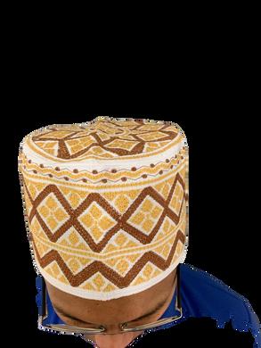 Beige Omani African Hat Malay Embroidery Kuma Songkok Zanzibar Oman Mens Eid