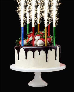 33cm LONG FOUNTAIN CANDLES CAKE SPARKLING BIRTHDAY PARTY X6 PIECES