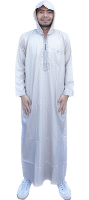 Mens Hooded Thobe Moroccan Long Full Sleeves Luxury Zip Robe Dishdash 1st Class Delivery