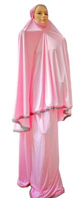 Telekung Pink 2 piece Lush Muslim Prayer Wear Long Hijab Khimar Umra Mukena