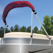 Carver pontoon boat bimini top brace kit in use