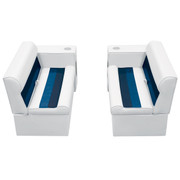 "Wise Deluxe Pontoon 36"" Bench & Arm Rest Set in White/Navy/Blue WS13530"