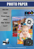 PPD Inkjet Premium Photo Paper Glossy 68lb. 255gsm 10.5mil 11 x 17""