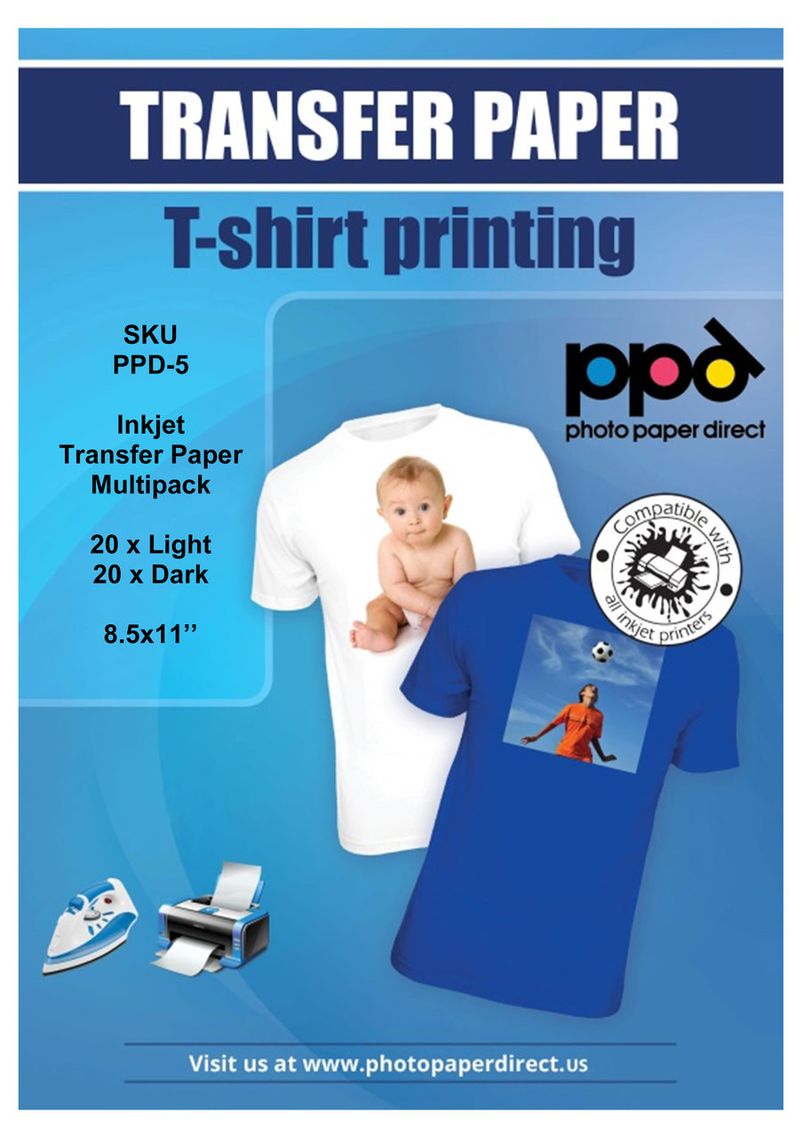 PPD Inkjet Iron-On Mixed Light and Dark Transfer Paper 8 5 x 11